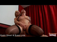 Sexy Kasey Grant and Sunny Lane gets fingered and fucked in threesome