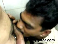 Indian guy enjoying his friends dick in toilet