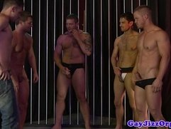 Donny Wright shows oral skills in orgy
