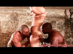 Ebony hunk has threeway with white meat