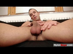 Horny Peter fucks artificial vagina until she cums all over nylons