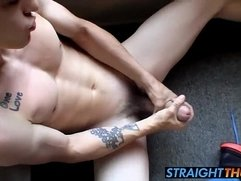 Sexy twink Brian loves to stroke his big cock on the balcony