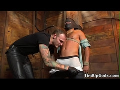 Bound bdsm sub roughly whipped by dom