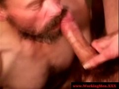 Hairy redneck giving blowjob to trucker