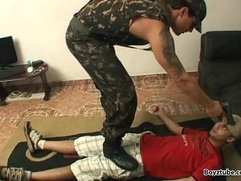 boy step boy soldado feet trampling domination