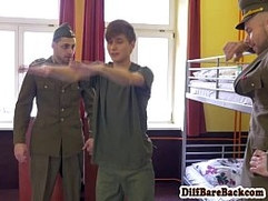 Uniformed officers spitroasting twink cadet