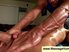 Masseur discovers clients erected cock