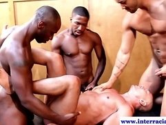 Muscular ebony jocks ass fucking and bj