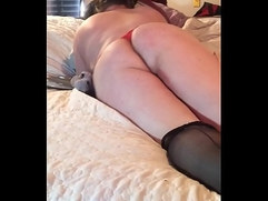 sissy slut shakes ass and begs for your cock then strokes cock